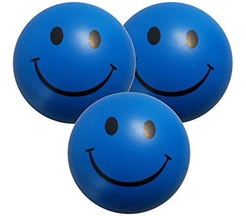 Stressballs 3 x Blaue – Smiley Stress Ball - Antistressball , Knautschball – Kleiner Ball, Grosse Stresserleichterung