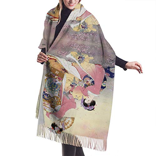 Quecci Bufanda de mantón,Japanese Traditional Kimono Pashmina Shawls And Wraps Large Scarfs For Women Oversized Shawl Cape Winter Unisex Blanket Scarf 68-196cm