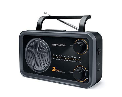 Muse M-06 DS Radio de Cuisine (FM, Ondes Moyennes MW) Fonctionne sur Secteur et sur Piles Entrée AUX pour téléphone Portable Prise Casque Antenne télescopique Noir