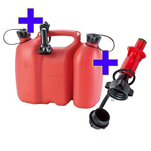 Kombikanister rot 3+1,5 Liter PLUS Einfüllsystem rot & Ausgiesser Doppelkanister
