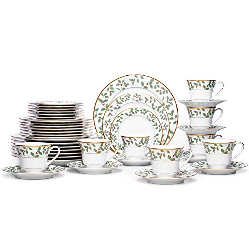 Noritake Holly and Berry Gold 40-Pc. Set-Service for 8 in Green/Red/White