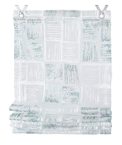 Kutti Raffrollo Ösenrollo Tiziano Weiss türkis transparent Breite 60 x Höhe 130 cm