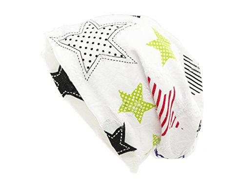 shenky - Jersey-Beanie - verschiedene Farben & Motive - Weiß mit Sternen benäht