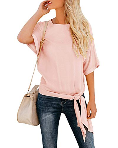 OURS Women's Summer Short Sleeve Knot Tie Front Shirts Chiffon Shirt Plus Size (Pink, XXL)