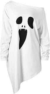 KLFGJ Halloween Damen Costumes Party Skew Neck Pumpkin Sweatshirt Jumpersuit Pullover Off Shoulder