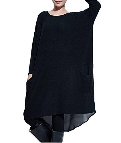 ELLAZHU Damen Asymmetrisch Langarm Lang Bluse Locker Kleid WO52 A, Wo52 Schwarz, Einheitsgröße