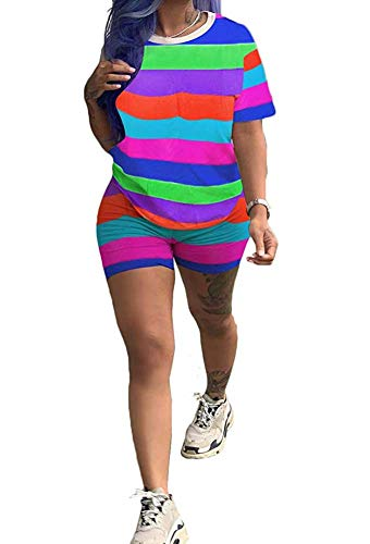 Womens Rainbow Stripe 2 Piece Sports Outfit Tracksuit Shirt Shorts Jogger Set Sportswear Pink