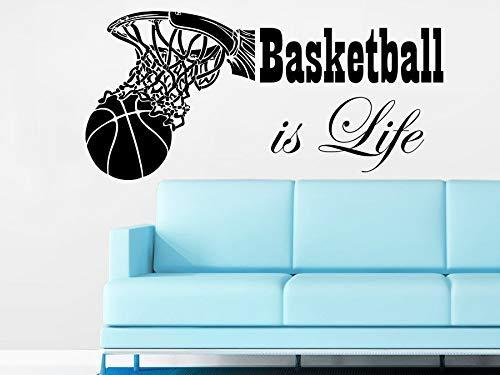 Basketball Ist Leben Sport Wandtattoo Modedesign Wandaufkleber Wohnzimmer Vinyl Zitat Aufkleber Trompete 26 * 57C M.
