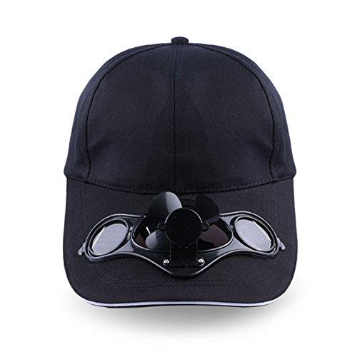 CXZC Cappello con Ventilatore Solare, Regolabile Solar Fan Cappello energia Solare Passeggiate Pesca Fresco Cappello Estivo all'aperto per Baseball Golf Ange, Nero