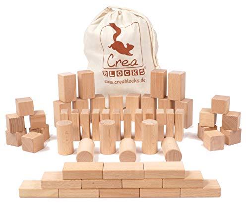 CreaBLOCKS Holzbausteine Kleinkindpaket 54 unbehandelte Bauklötze für Kleinkinder ab 6 Monaten (im Baumwollbeutel) Made in Germany