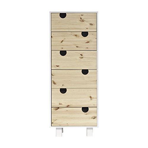 Karup Design House 6-Drawer Espace de Rangement, pin, Blanc/Naturel, 50x40x130 cm