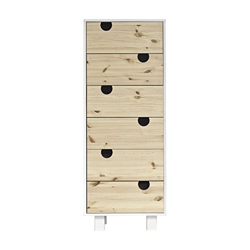 Karup Design House 6-Drawer Espace de Stockage, Bois, Blanc/Naturel, 50 x 40 x 130 cm