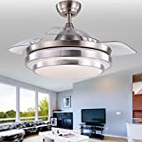 36-Inch Retractable Ceiling Fan with LED Lights, CCT Dimmable, Invisible Blades, Remote Control, Sleep Mode, Quiet Motor, Brushed Nickel Modern Ceiling Fan for Living room, Bedroom, Home Decor.
