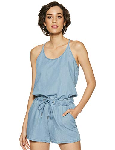 VERO MODA Women's Cotton Jumpsuit (1851398005_Light Blue Denim_X-Large)