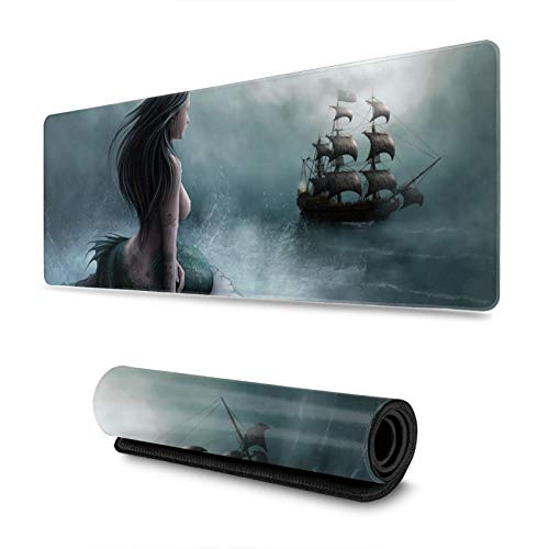 Mermaid Pirate Ship Gaming Mouse Pad, Long Extended XL Mousepad Desk Pad, Large Non-Slip Rubber Mice Pads Stitched Edges, 31.5'' X 11.8''