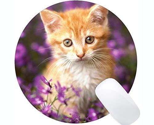 Cojín de ratón Redondo con el Borde Cosido, Base Animal de Goma Antideslizante Mousepad del Gato Activo