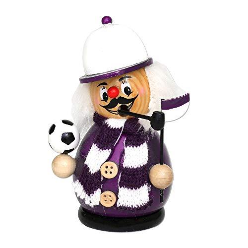 Dekohelden24 Räuchermann als Fussballer mit lila/weissem Outfit, ca. 12 cm