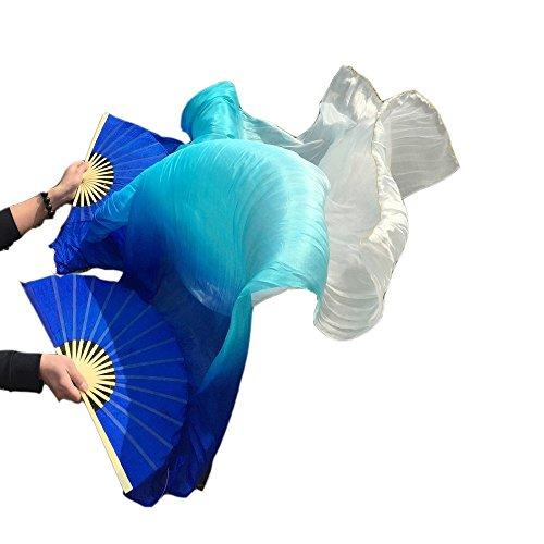 シルクファンベール 2本セット シルク100% ベリーダンス ファンベール シルクファンベール ベール シルク 衣装 扇子 団扇 舞台 小道具 アクセサリー 扇子 団扇 180*90 cm (青空色白)