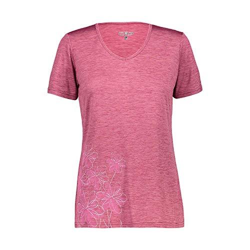 CMP – F.LLI Campagnolo Damen Leichtes Melange-T-Shirt mit bunten Drucken, Goji Mel, D38