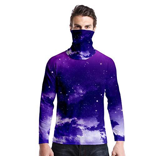 T-Shirt À Manches Longues,Casual Long Sleeve Imprimé Violet Ciel Étoilé Col Rond Unisex T-Shirt Tops Imprimé Chemisier Body Shirt avec Écharpe Hommes Femmes Automne Hiver Pullover Sweatshirt,A