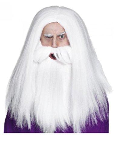 Perruque Homme longue blanc Raie au milieu Raide Carnaval Carnaval Halloween