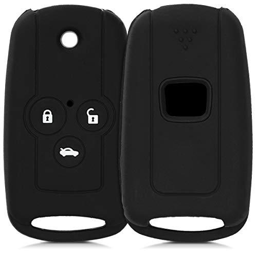 kwmobile Funda de Silicona Compatible con Honda Llave de Coche Plegable de 3 Botones - Carcasa Suave de Silicona - Case Mando de Auto Negro