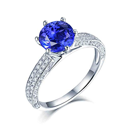 Beydodo Anillos de Compromiso Mujer,Anillos Oro Blanco Mujer 18K Plata Azul Redondo Tanzanita Azul 3ct Diamante 0.6ct Talla 17(Circuferencia 57MM)