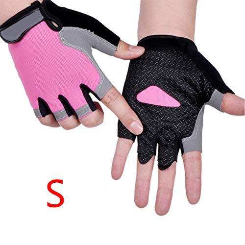 Njuyd Guanti da donna in silicone per mountain bike, guanti antiscivolo anti-sudore a mezza dita, guanti da campeggio, escursionismo, palestra, fitness, sport, bici