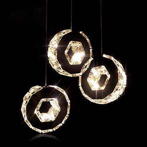 Lámpara de techo circular de araña de cristal LED para comedor bar sala de estar dormitorio (color: luz cálida-A 3 piezas/juego)