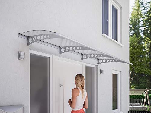 Schulte Haustür-Vordach Überdachung, 240x90 cm, 3 mm Polycarbonat-Abdeckung, Edelstahl-Halterungen V2A Circle