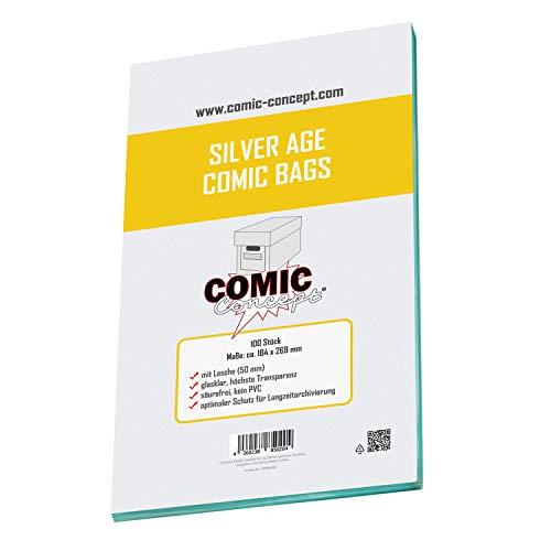 Comic Concept Silver Age Size Bags, Hüllen mit Lasche, 100 Stück