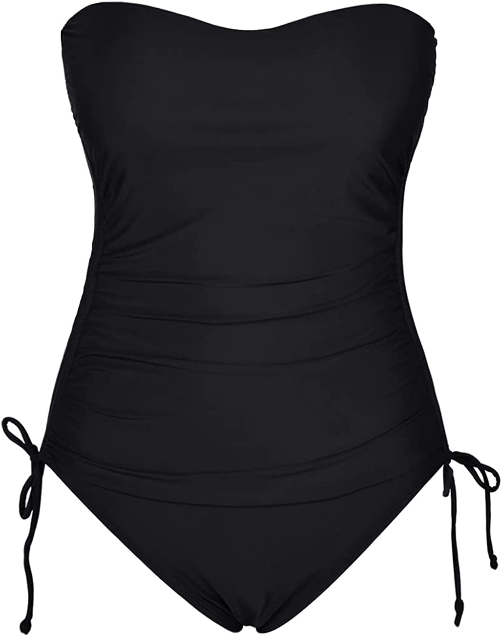 Firpearl Women's Bandeau One Piece Swimsuits Slimming Tummy Control Swimwear Side Drawstring Ruched Bathing Suits