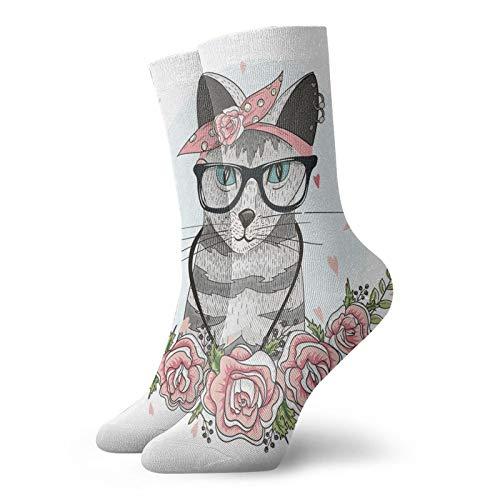 Calcetines suaves de media pantorrilla, diseño de gato hipster con gafas, bufanda, pendientes y flores, pequeños corazones, calcetines para mujeres y hombres mejores para correr