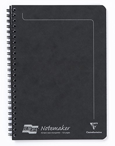 Clairefontaine 4852Z - Heft Europa Notemaker mit Spiralbindung 60 Blatt mikroperforiert 14,8x21 cm 90g liniert, 1 Stück, Schwarz