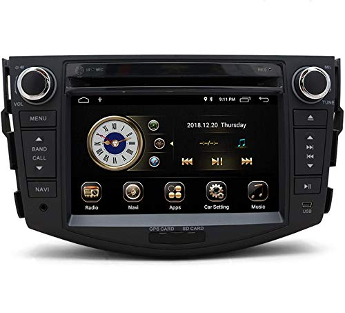 YULU Car Stereo Radio in Dash Navigation for Toyota RAV4 2006 2007 2008 2009 2010 2011 2012, 7 inch HD Touchscreen Android 10.0 Double Din DVD Player Bluetooth with Rear View Camera,16GB SD Card
