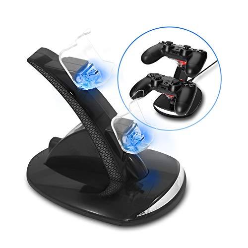 Eaxus®️ PS4 Controller Ladestation - ⚡ PlayStation 4 Aufladestation mit LED Beleuchtung & USB, Schwarz