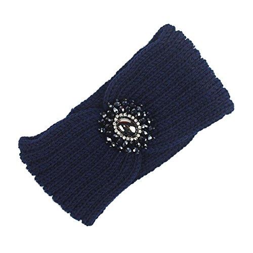 Holzkary Knitted Headband Women Girls Crochet Turban Headbands Stretchy Braided Hat Cap Ear Warmer Head Wrap Hairbands(Navy)