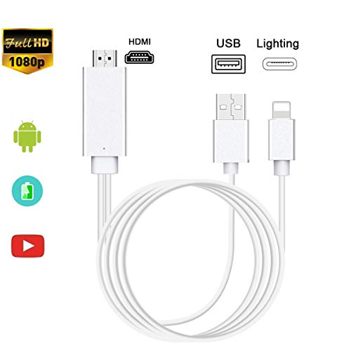 Compatible con iPhone Pad a HDMI, Adaptador de Cable Adaptador de 1080p, Digital, AV HDMI, para teléfono XS MAX XR X 8, 7 6 Plus Pad Pro A-IR Pod a proyector de TV, Plug and Play (Silver)