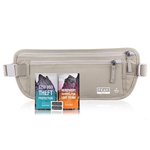 Travel Money Belt with RFID Block - Theft Protection and Global Recovery Tags (Beige REG)