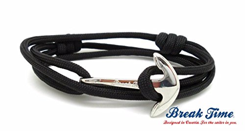 Black Paracord Stainless Steel Anchor Wrapped Handmade Bracelet, One Size Fits All - SPLIT COLLECTION