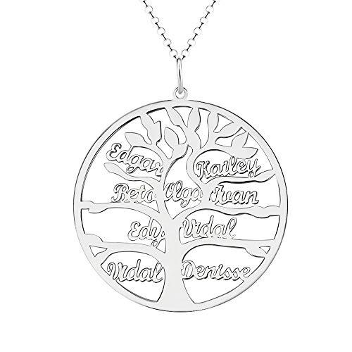 Namenskette mit eingraviertem Stammbaum Personalisierte Halskette mit bis zu 9 Namen Halskette mit Lebensbaum-Kreis aus Sterlingsilber/Gold/Rotgold