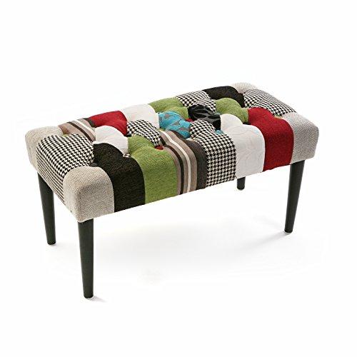 Versa Hocker Bedside Bl/Gr Patchwork Bank, Holz und Polyester schwarz, grün, blau, grau und rot, 45 x 40 x 80 cm