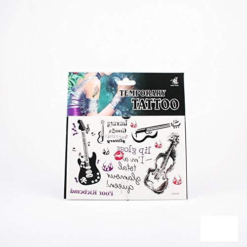 *Tattoos Gitarre, Bassgitarre, Geige, Flammen, Kussabdruck und englische Begriffe 01-00024
