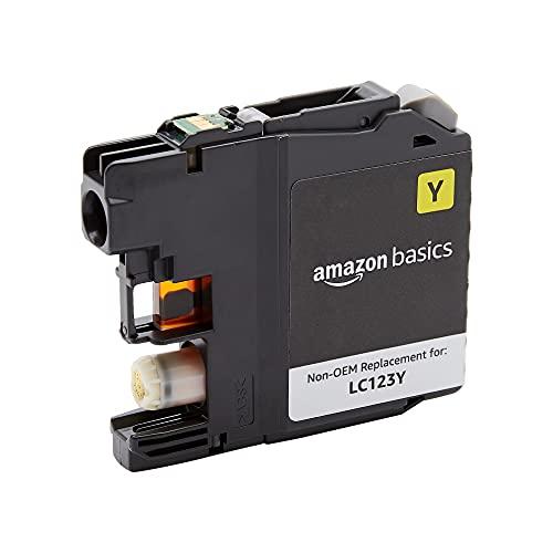 Amazon Basics - Cartucho de tinta regenerado de rendimiento estándar, repuesto para Brother LC123, estándar, paquete de 1unidad (color amarillo)