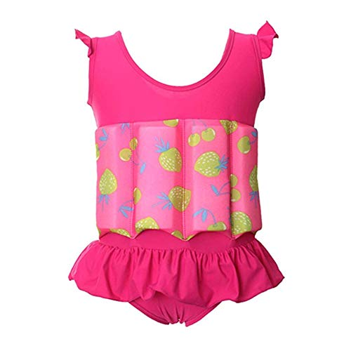 Digirlsor Toddler Baby Girls Float Suit Kids One Piece Swimsuit Strawberry Buoyancy Swimwear Bathing Suit,1-6 Years (TagS/0-1 Years, Rose red/Strawberry)