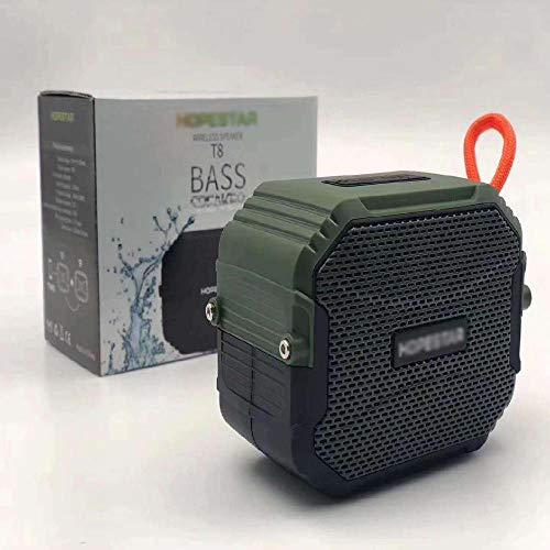 Impermeable portátil inalámbrico portátil de tiempo de reproducción de viaje Bluetooth altavoz largo amplia gama de Bluetooth realzó con cancelación de ruido del micrófono,Green