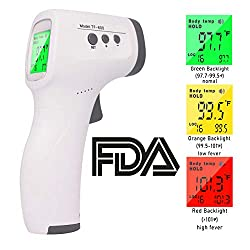 FiGoal Non-Contact Forehead Ear Digital Infrared Thermometer Body Temperature with Fever Alarm and Memory Function Ideal for Babies, Infants, Children, Adults, Child, Surface of Objects (White)