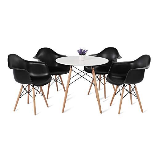 DORAFAIR Conjunto de Mesa Redonda y 4 Sillas de Comedor, Comedor de diseño nórdico, con Silla Negra