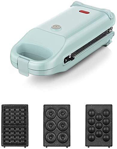 Gofrera 3 en 1, maker Machine, gofrera antiadherente Egg profunda, revestimiento de placas, 700 W, control de temperatura automático, azul, 3 en 1 liuchang 20 (color azul, tamaño: 3 en 1)