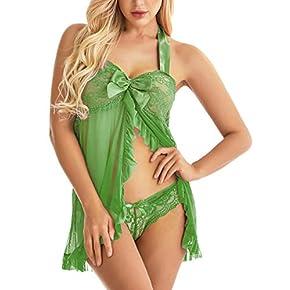Women Lingerie Lace Babydoll Halter Chemise Strap Nightwear Plus Size Sleepwear